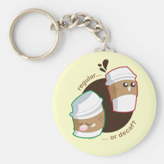 Regular or Decaf? Basic Round Button Keychain