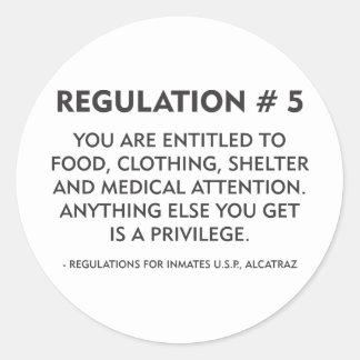 Regulation # 5 classic round sticker