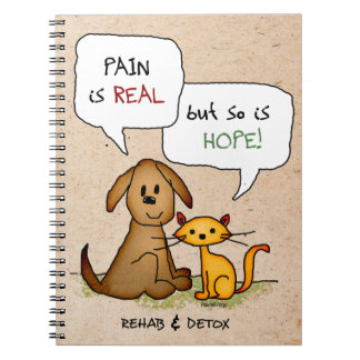 Rehab & Detox Cartoon: Recovery Sobriety DrugFree Spiral Notebook