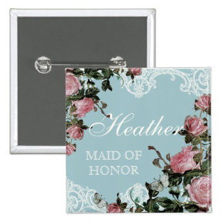 Rehearsal Bridal Party tags, Trellis Rose Vintage 2 Inch Square Button