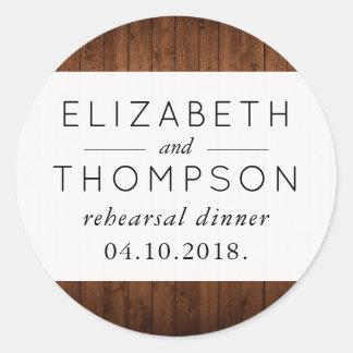 Rehearsal Dinner - Barn Wall, Wooden Planks Classic Round Sticker