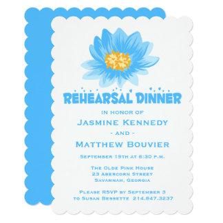 Rehearsal Dinner Blue Turquoise Flower Wedding Card