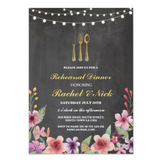Rehearsal Dinner Cutlery Gold Lights Chalk Invite