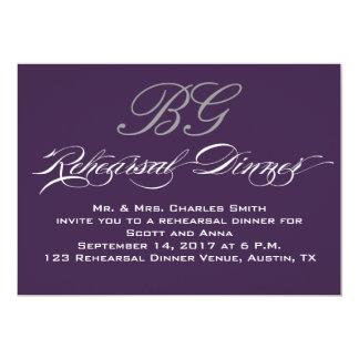 "Rehearsal Dinner | Dark Purple Grey Initials 5"" X 7"" Invitation Card"