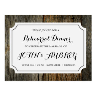Rehearsal Dinner for Rustic Country Wedding Postcard