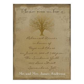 Rehearsal Dinner Golden Oak Tree Postcard