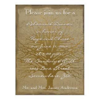 Rehearsal Dinner Golden Oak Tree Post Card