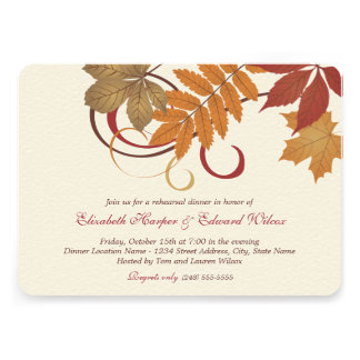 Rehearsal Dinner Invitation Autumn Fall Theme