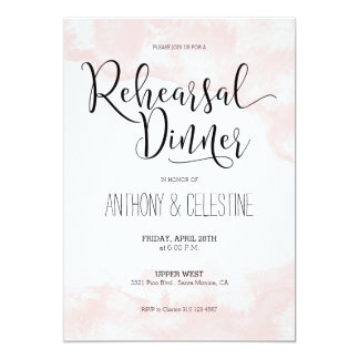Rehearsal Dinner Invitation - Blush Watercolor