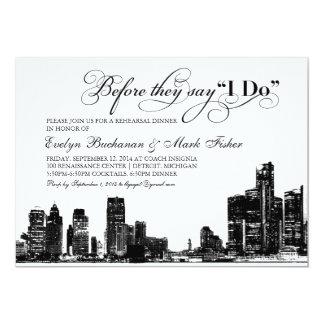 Rehearsal Dinner Invitation | Detroit Skyline