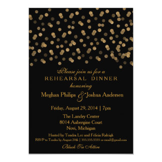 Rehearsal Dinner Invitation Gold Glitter Confetti