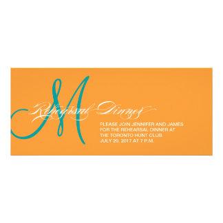 Rehearsal Dinner Invitation Monogram Orange Blue