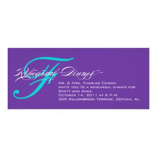 Rehearsal Dinner Invitation Purple Blue Monogram F