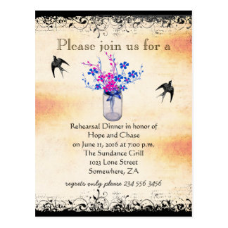 Rehearsal Dinner Mason Jar Wild Flower Invite Postcard