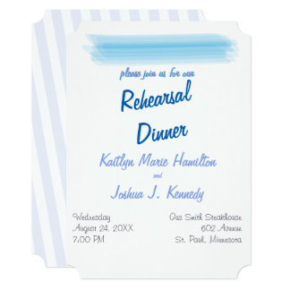 Rehearsal Dinner Minimalist Soft  Blue Watercolor Card