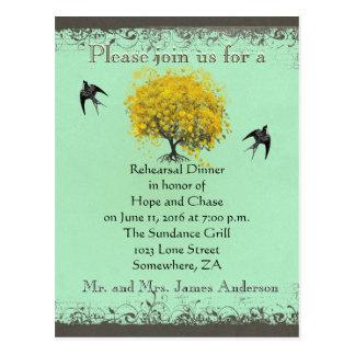 Rehearsal Dinner Mustard Heart Leaf Tree Postcard