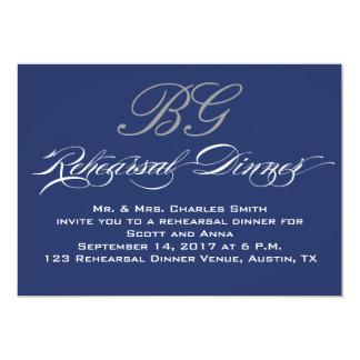 "Rehearsal Dinner | Navy Blue Grey Initials 5"" X 7"" Invitation Card"
