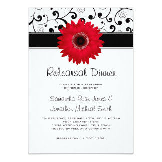 "Rehearsal Dinner Red Gerbera Daisy Black Scroll 5"" X 7"" Invitation Card"