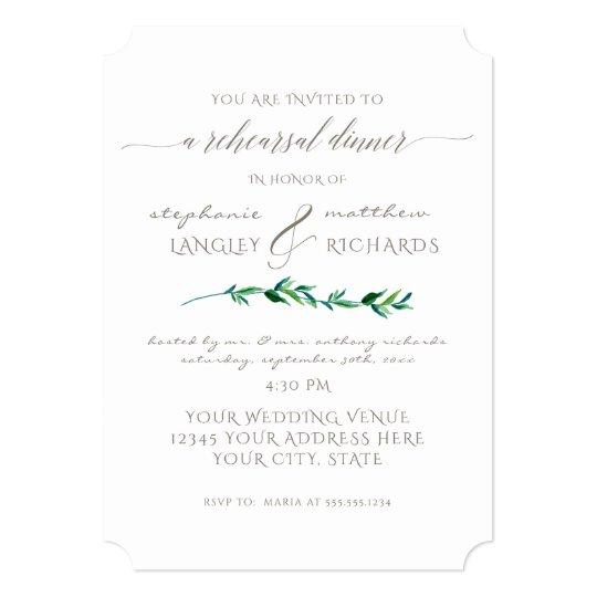 Rehearsal Dinner Simple Minimalist Modern Leaf Art Card