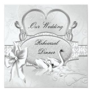 Rehearsal Dinner Wedding Silver White Swans Heart Card