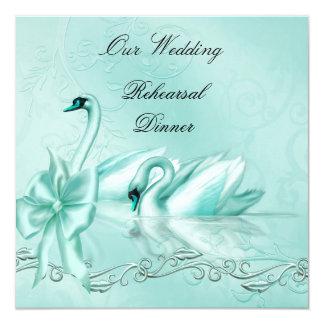 Rehearsal Dinner Wedding Teal Blue Aqua Swans Card