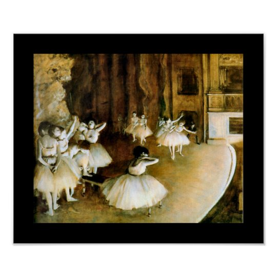 Rehearsal of a Ballet on Stage - Degas Poster
