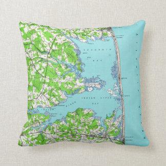 Rehoboth Beach & Bethany Beach Delaware Map (1938) Throw Pillow