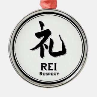 REI respect virtue samurai kanji Silver-Colored Round Ornament
