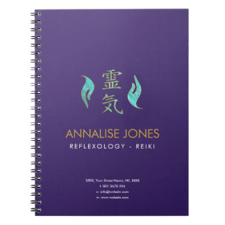 Reiki Healing Hands and Gold Symbols Notebook