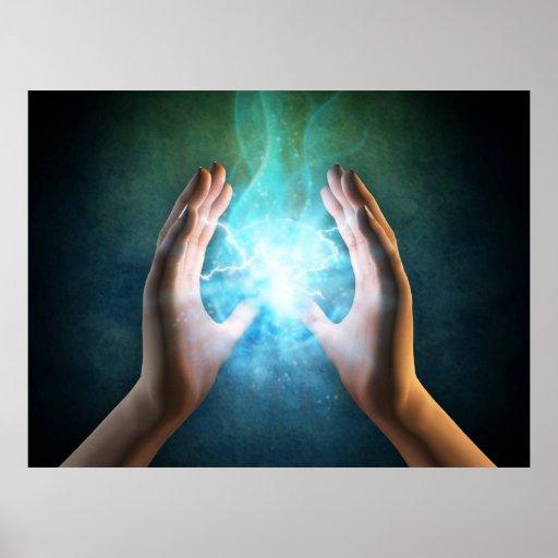 Reiki healing hands energi at work distant healing posters