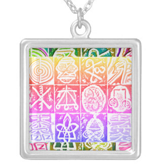 REIKI Healing Symbols Silver Plated Necklace