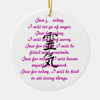 Reiki Kanji and Precepts Round Ceramic Ornament