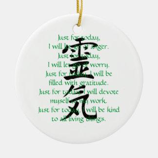 Reiki Kanji and Precepts with Usui Round Ceramic Ornament