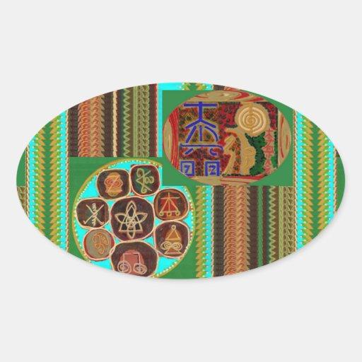 REIKI Karuna Healing Symbols Vintage CARE GIFTS 99 Oval Stickers