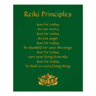Reiki Principles Green and Gold Lotus Poster