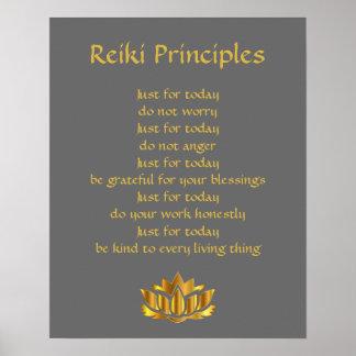 Reiki principles grey and gold poster