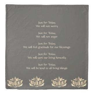 Reiki Principles Grey / Silver lotus flower design Duvet Cover