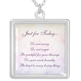 Reiki Principles Silver Plated Necklace