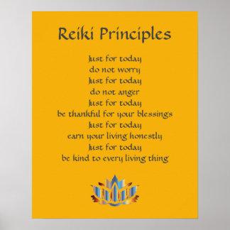 Reiki Principles Yellow / Mustard /Gold Lotus Poster