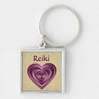 Reiki Silver-Colored Square Keychain