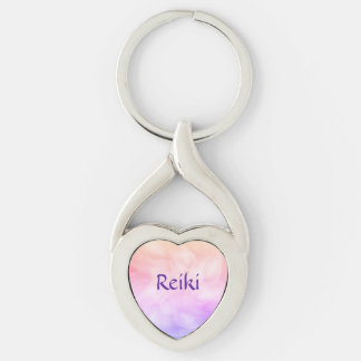 Reiki Silver-Colored Twisted Heart Keychain