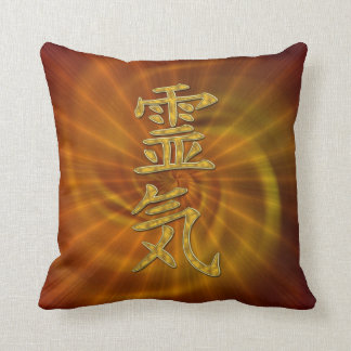REIKI Symbol + energy spiral + sunrise Throw Pillow