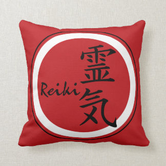 REIKI Symbol red black + your background Throw Pillow