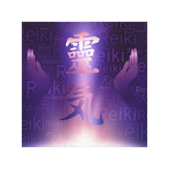 Reiki Symbols and healing hands on purple light Canvas Print