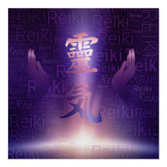 Reiki Symbols and healing hands on purple light Poster