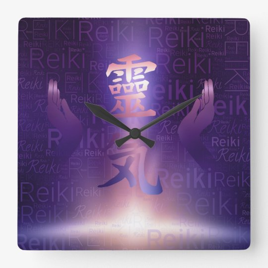Reiki Symbols and healing hands on purple light Square Wall Clock
