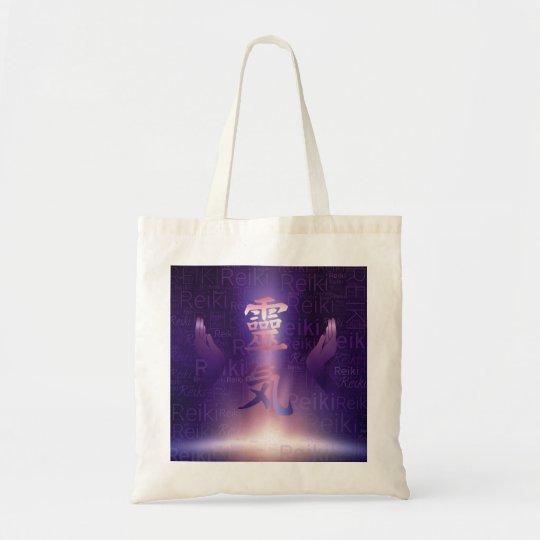 Reiki Symbols and healing hands on purple light Tote Bag