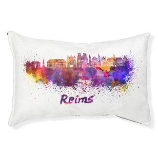 Reims skyline in watercolor pet bed