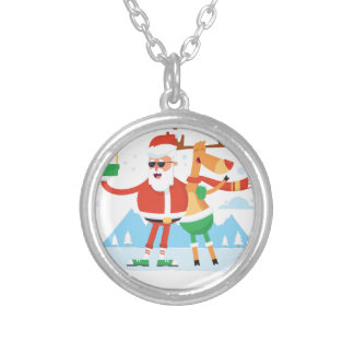 reindeer 11 silver plated necklace