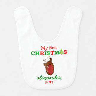 Reindeer and Candy Cane Stripes Bib